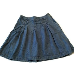 Loft Pleated Jean Skirt 12 Blue Denim Knee full L